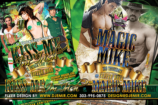 Kiss Me I'm Irish And Magic Mike Night ST. Patrick's Day Flyer Design