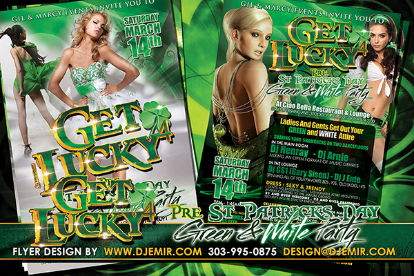 Get Lucky 4 Pre St. Patrick's Day Green And White Party Flyer design