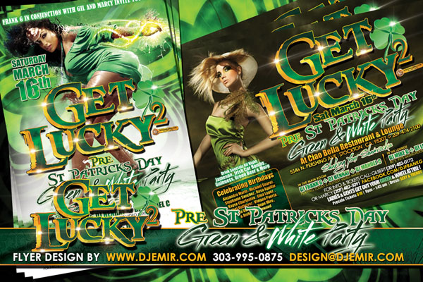 Get Lucky 2 Pre St. Patrick's Day Green & White Party Flyer design
