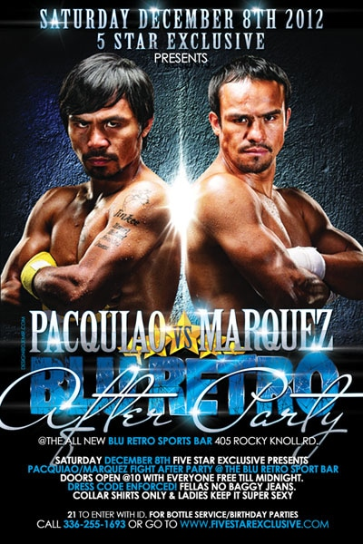 Blue Retro Pacquiao vs Marquez Boxing Match Fight After Party Flyer Design
