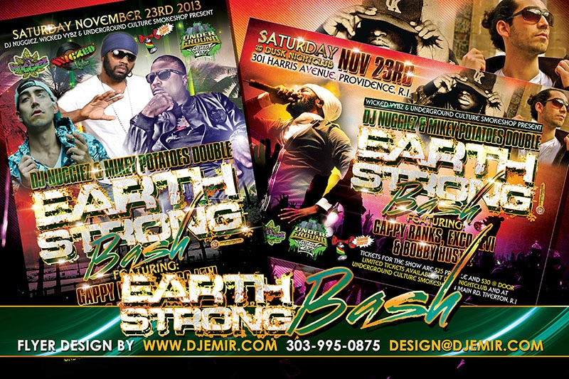 DJ Nuggiez And Mikey Potato's Double Earth Strong Bash Birthday Party Flyer Design Featuring Gappy Ranks, Exco Levi And Bobby Hustle