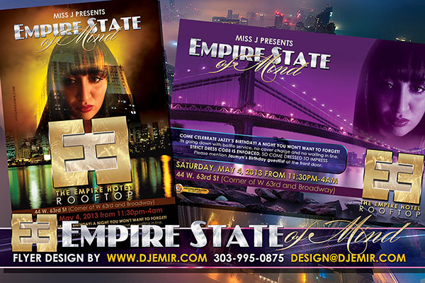 Jazzy JaSMIN AKA Miss J's Empire State Of Mind Birthday Extravaganza Empire Hotel Rooftop Party Flyer Design