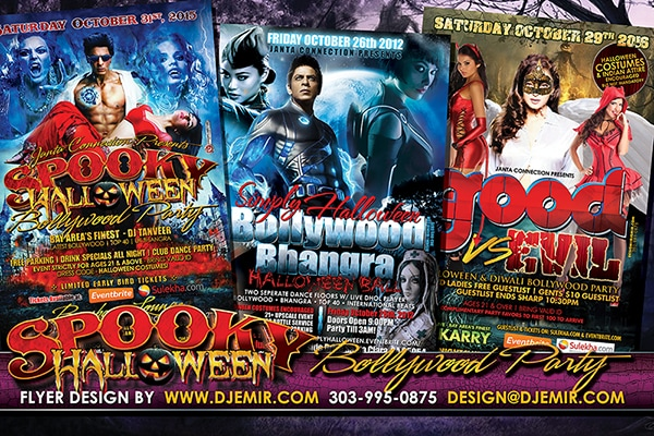 Good Versus Evil, Super Sexy And Spooky Bollywood and Bhangra Halloween Party Flyer designs San Francisco, San Jose and Santa Clara California