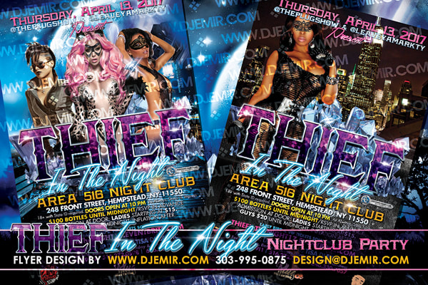 Thief In The Night Themed Nightclub Party Flyer Design New York City, NY