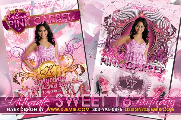 Kristy's Ultimate Pink Carpet Sweet Sixteen Birthday Party Event Flyer Design