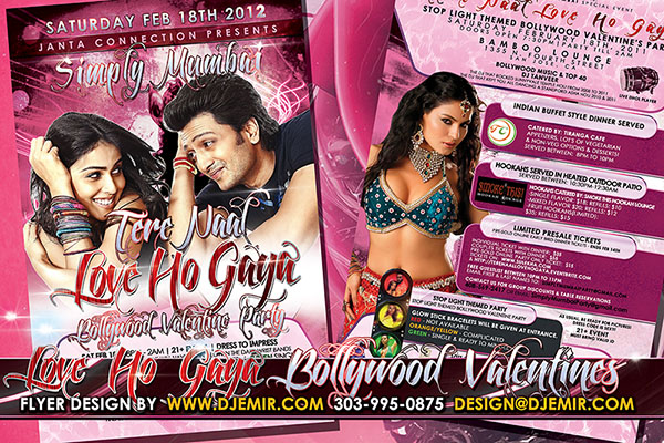 Simply Mumbai Love Bollywood Valentine's Day Dance Party Flyer design San Jose California