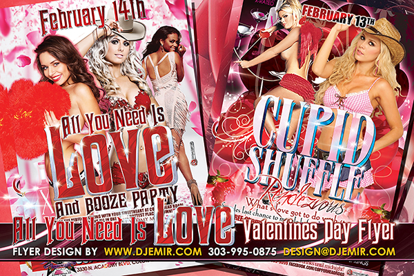 All You Need is Love Valentine's Day Party Flyer Design and Cupid Shuffle Rendezvous Party Flyer Design Copperhead Road Colorado Springs CO with 5 Girls in Red White and Pink Dresses and bikinis and cowboy hats Cupid costume with bow and arrow red hearts rose pedals Love letters