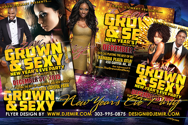 Grown And Sexy New Year's Eve Flyer Design