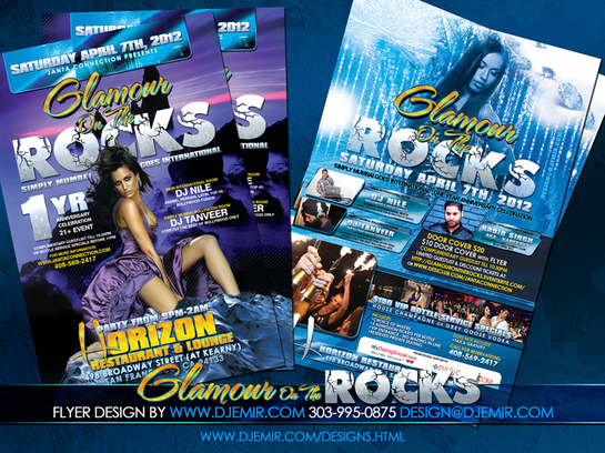 Glamour on The Rocks 1 year Anniversary Party Flyer Design