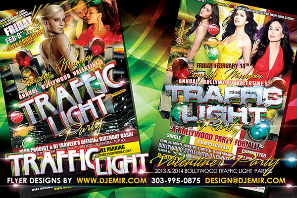 Simply Mumbai Annual Bollywood Valentine's Day Traffic Light Party Flyer Design California with women in Green Yellow And Red Dresses To Indicate Relationship status single and available taken or complicated