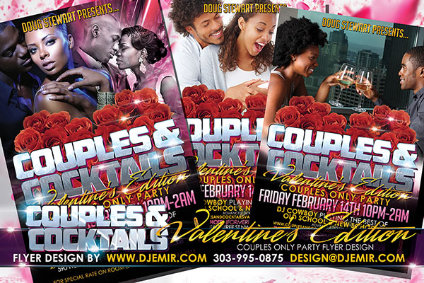 Couples and Cocktails Valentine's Day Edition Flyer design 4 Black Couples enjoying Valentine's Day wine Roses Silver Lettering Invite design
