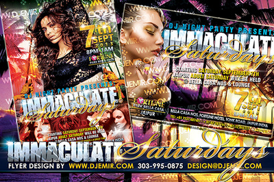 Immaculate Saturdays Flyer design India featuring palm trees at sunset