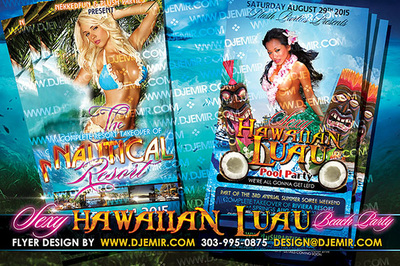 Hawaiian Luau Pool Party Flyer Design with sexy Hawaiian women in bikinis and leis with Tikis totems and gods coconuts  palm trees nautical resort orchids blonde asian