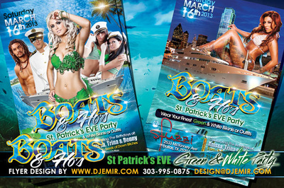 Boats and Hos St Patrick's Day Eve Green and White Outfit Boat Party Flyer Design Sexy Sailors beach party