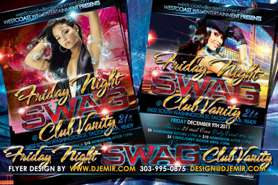 Friday Night Swag Flyer Design Club Vanity Tacoma Washington woman with magic hat