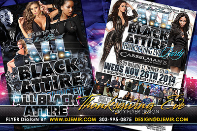 All Black Attire Thanksgiving Eve Flyer design Casselman's Denver, Colorado