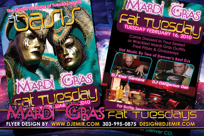 Oasis Mardi Gras Fat Tuesday Flyer Design Denver Colorado