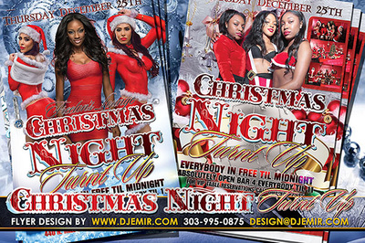 Christmas Night Turnt Up Flyer design Jackson Mississippi 6 women in Red Santa and Christmas outfits