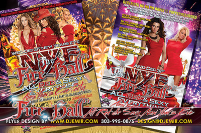 NYE The Fire Ball All Red And Sexy New Year's Eve Party Flyer Design