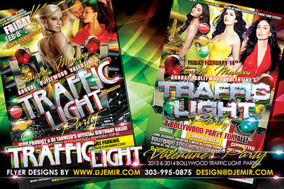 Annual Bollywood Valentine's Day Traffic Light Party Flyer Design