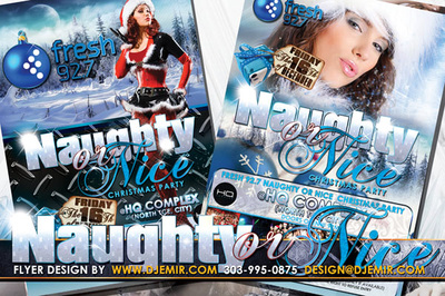 Naughty Or Nice Naughty Santa Clause Christmas Party Flyer design