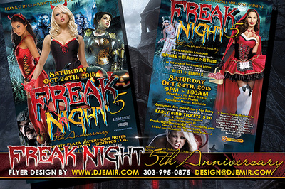 Freak Night 5 Halloween Flyer design California Sexy Red Riding Hood, Zombies, Devil Steampunk, vampires, black jack o'lanterns pumpkins