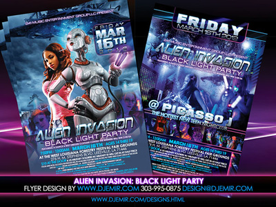 Alien Invasion Teen Black Light Party Flyer design 241  Music Entertainment Group New Orlean's Leesville Louisiana