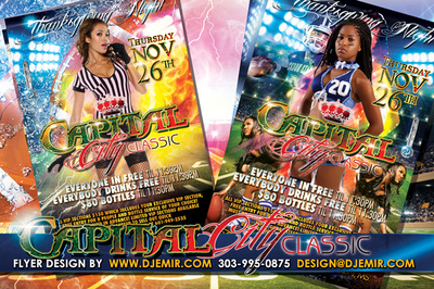 Thanksgiving Capital City Classic Football Game Party Flyer design