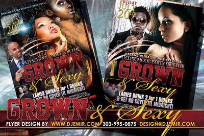 Grown and Sexy Old School party flyer design sexy asian white girl black man black woman couples