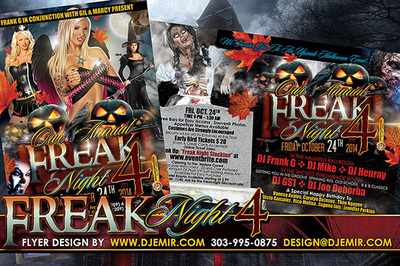 Freak Night 4 Halloween Party Flyer Design California Dark Black Pumpkins dark angels witches female zombies