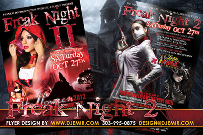 Freak Night 2 Halloween Flyer design with Sexy Nurse Red Riding Hood Wolf red Blood moon haunted house