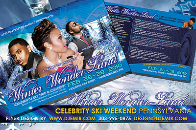 Winter Wonderland Celebrity Ski Weekend Flyer design Featuring Chrisette Michelle, Trey Songz, and Musiq Soul Child