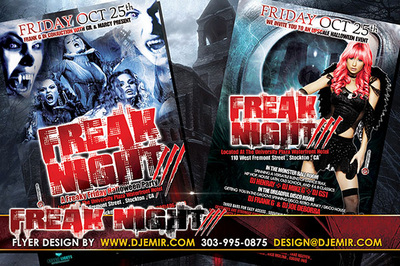 Freak Night 3 Halloween Flyer design with sexy female vampires, dark angel huge eye and haunted house background
