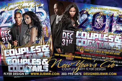 Couples and Cocktails New Year's Eve Flyer design NYE Ball Drop Lights Atlanta, Georgia