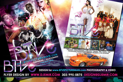 BTVE Music Video, Videography and Photography service flyer designs