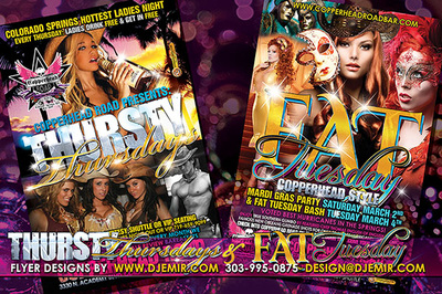 Thursty Thursdays and Fat Tuesdays at Copperhead Road Flyer Designs Colorado Springs CO with cowgirls mardi gras masks male revue