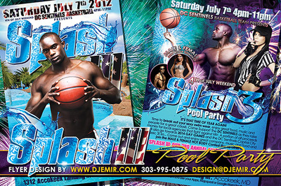 Splash 3 pool party flyer design with DC Sentinels basketball team. Washington DC, Pennsylvania