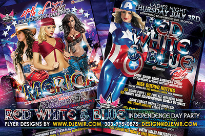 Merica 4th of July Red White And Blue Party Flyer Design