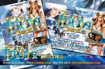 Iditarod Parties The Bering Sea Nome Alaska eskimo outfit dogsled race after party flyer design