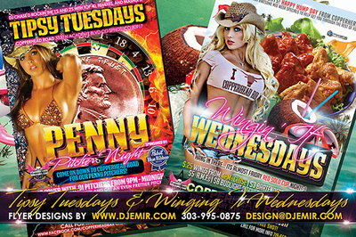 Tipsy Tuesdays Penny Pitcher Night and Winging Wednesdays Wings night flyer designs Copperhead Road Colorado Springs, CO