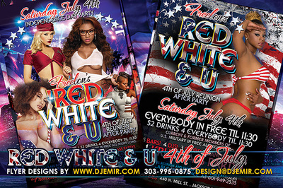 Blue, Red, White And U 4th of July weekend Flyer design Jackson Mississippi women in american flag colors