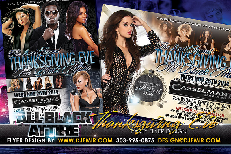 All Black Attire Thanksgiving Eve Flyer Design Denver Colorado