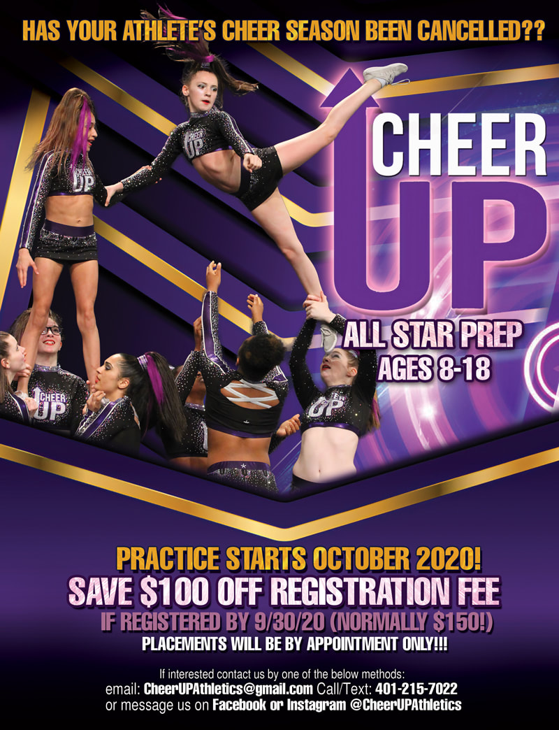 Cheer UP All Star Prep Cheerleading Competition Team Flyer Design Rhode Island with 8 girls cheer squad acrobatics purple and gold flyer poster