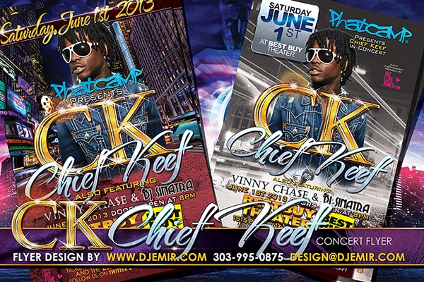 Flyer design for Phat Camp presents Chief Keef in Concert at Best Buy Center in New York City featuring Vinny Chase and DJ Sinatra