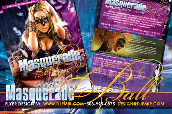 Halloween Masquerade Ball Flyer Design for Menage KC Blonde woman in masquerade Mask with feathers falling Pink and Purple Background with stars