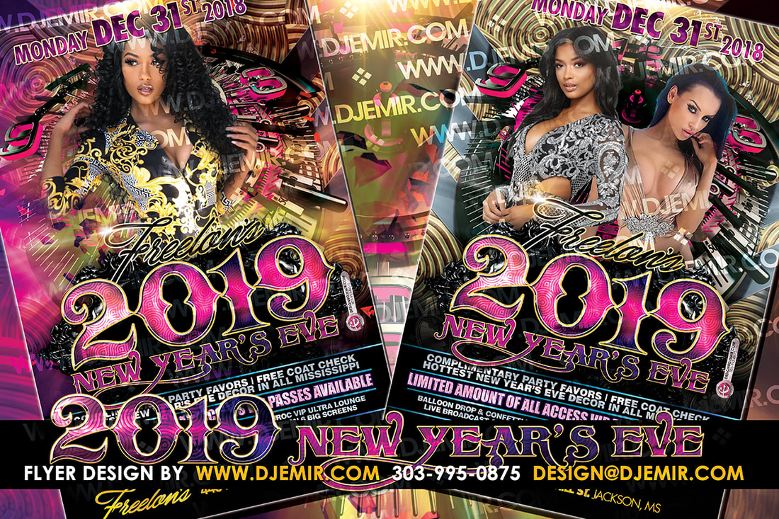 New Year's Eve Black Silver and Gold Flyer Design