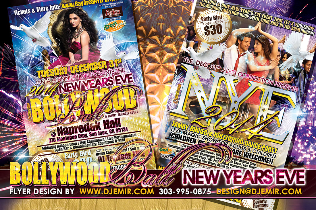 NYE Flyers: Bollywood New Year's Eve Ball Flyer Design