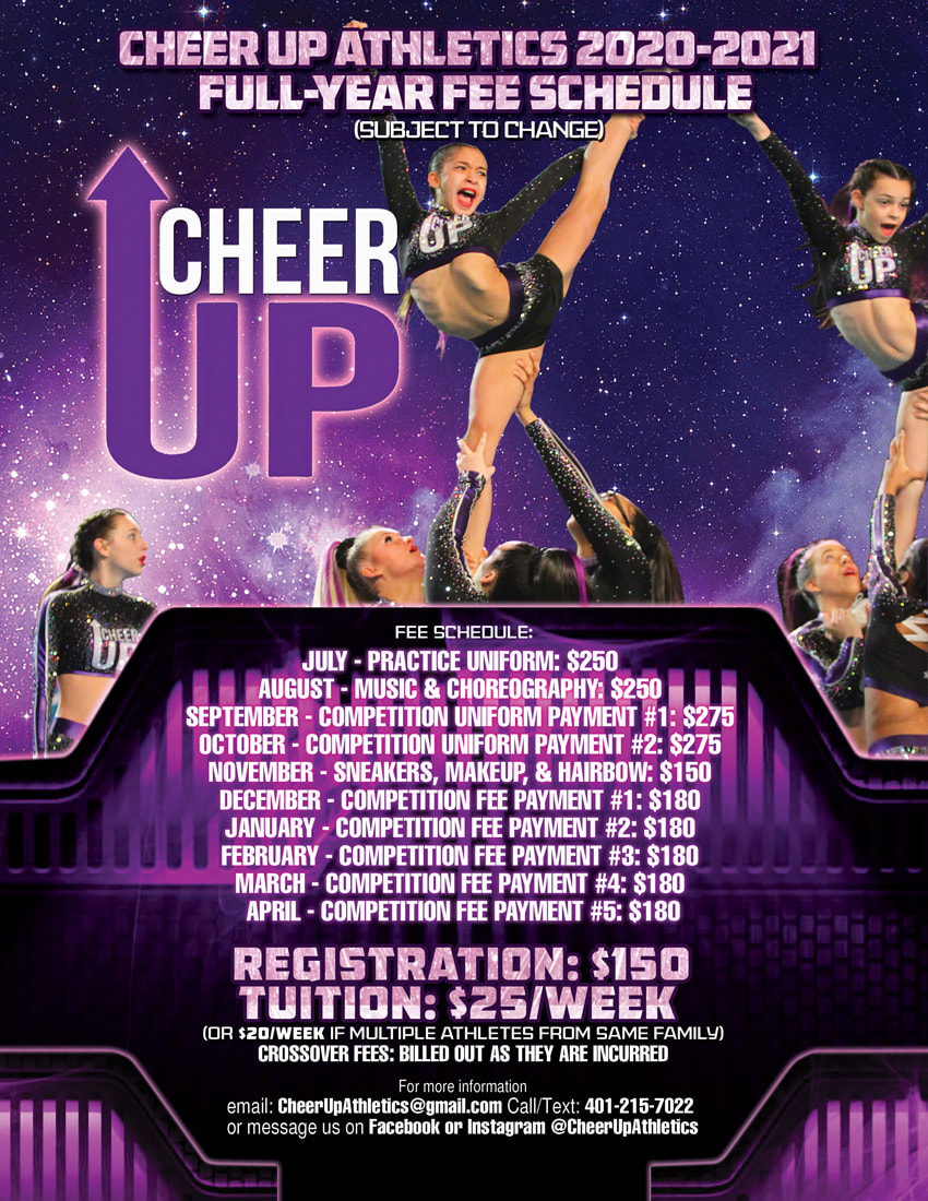 Cheer UP Full Year Fee Schedule Flyer Design Rhode Island Cheer Squad designs with 8 person cheerleading team