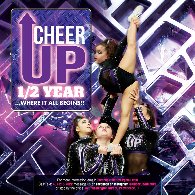 Cheer UP Half Year Sign up Cheerleading Competition Team Flyer Design Rhode Island with 4 girls cheer squad acrobatics purple and silver instagram flyer designs