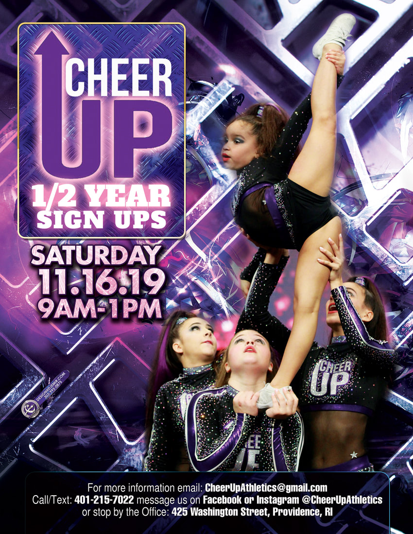 Cheer UP Half Year Sign up Cheerleading Competition Team Flyer Design Rhode Island with 4 girls cheer squad acrobatics purple and silver poster designs